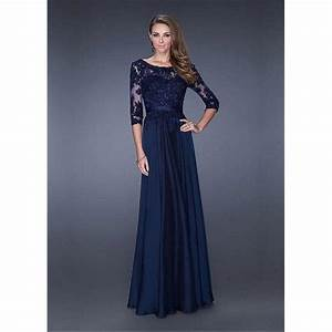 Navy Blue Long Sleeves Evening Gown With Lace Appliques ...