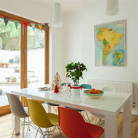 dining room  multi coloured chairs decorating