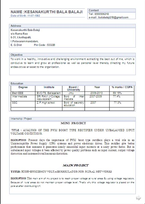 resume co atractive resume format for a b tech eee