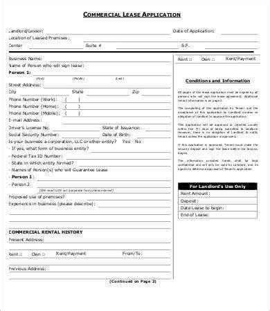 lease application templates  sample