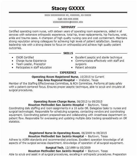 best operating room registered nurse resume exle livecareer