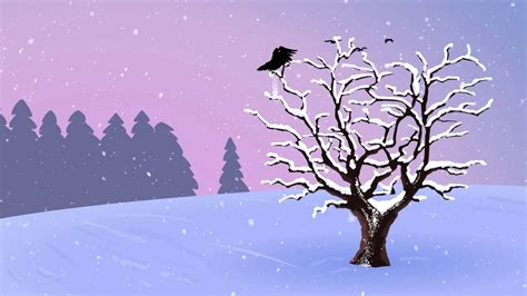 crow animation in winter time animated backgrounds youtube