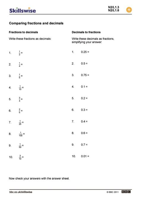 Worksheets On Comparing Decimals And Fractions Homeshealthinfo
