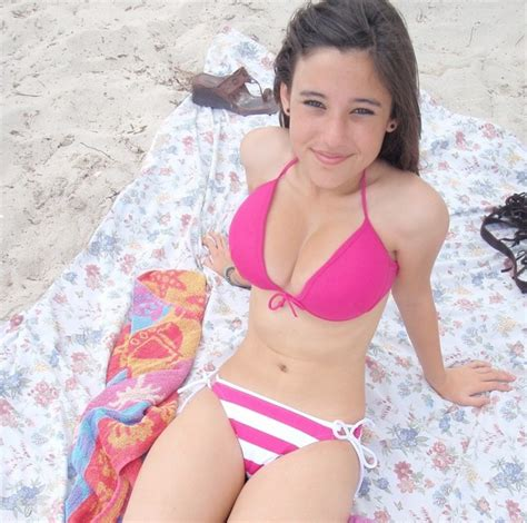 Girl Content Teen With Nice Big Tits On The Beach