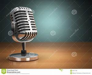 Vintage Microphone On Green Background. Retro Style. Stock ...