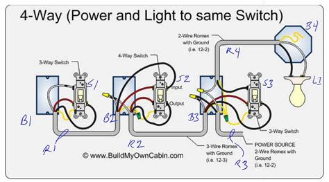 4 way switch wiring diagram light between circuit inside
