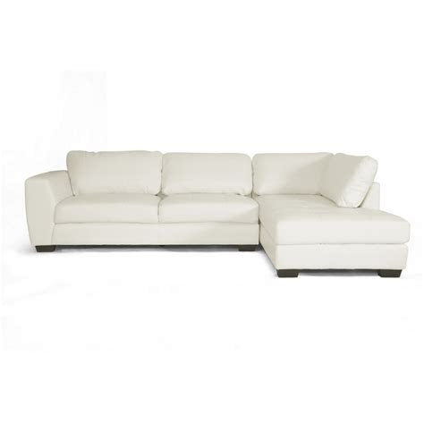 chaise com orland white leather modern sectional sofa set with right
