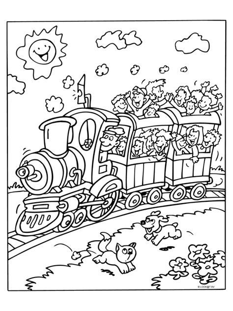 Kleurplaat Trein Met Wagonnetjes by Kleurplaat Stoomtrein Vol Kinderen Kleurplaten Nl