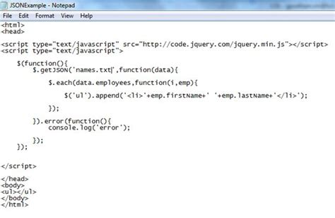 json template how to import data from a json file and parse it javascript to display the content