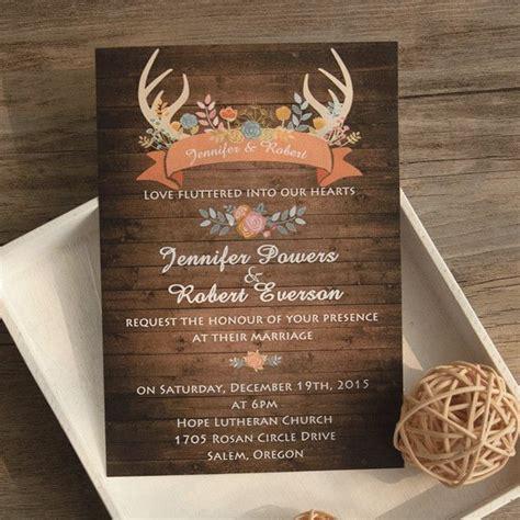wood antler flower rustic wedding invites ewi wedding