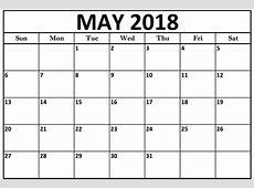 May 2018 Calendar US Calendar Template Letter Format