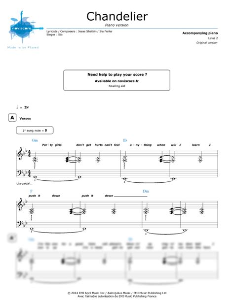 piano sheet chandelier piano version sia