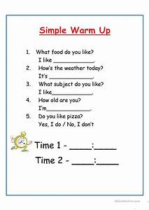 Simple Warm Up Worksheet