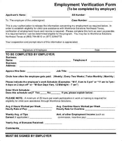 employment verification form template verification of employment form 9 free word pdf documents free premium templates
