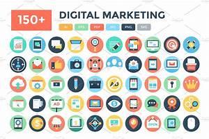 150  Flat Digital Marketing Icons