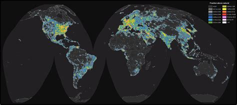 pollution map detailed map of light pollution around the world Light