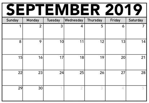 september  calendar printable large print sheet