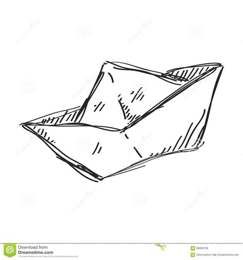 Origami Boat Drawing by Simple Doodle Of A Paper Boat Stock Vector Image 58900156
