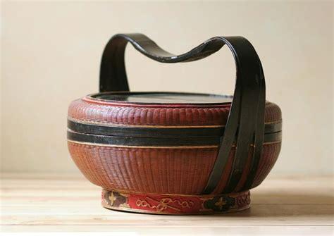 antique chinese woven basket wedding basket handpainted etsy   wedding basket
