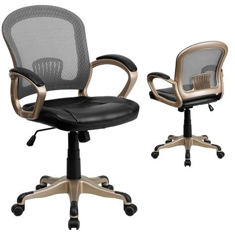 mid back mesh office chair with black leather seat by