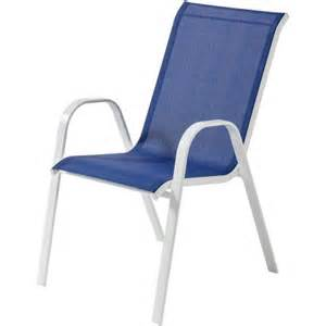 mainstays heritage park stacking sling chair royal blue
