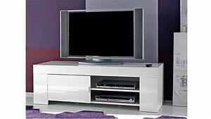 Meuble Tv Petit : meuble tv design laqu blanc 140 cm magao mobilier moss ~ Teatrodelosmanantiales.com Idées de Décoration