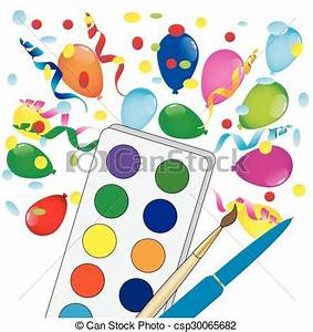 Vector of bright colored balloons and watercolor vector