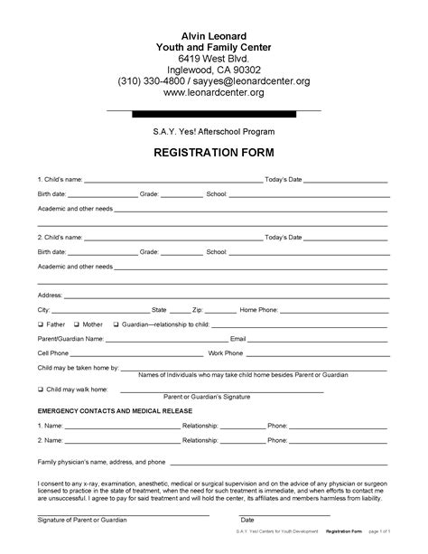 sle after school program registration form activities alvin leonard youth and family center