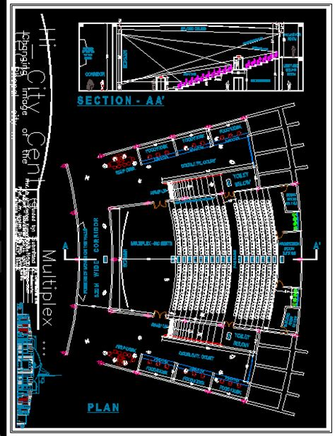 cinema theatre  small restaurant dwg block  autocad