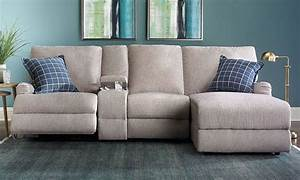 Alton power reclining sectional sofa with chaise the for Sectional sofa with bed and recliner