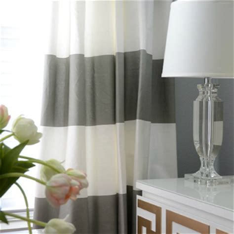 White And Gray Striped Curtains by Furniture Overlays Contemporary Den Library Office