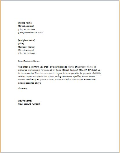 letter  authorization template  business  authoriza