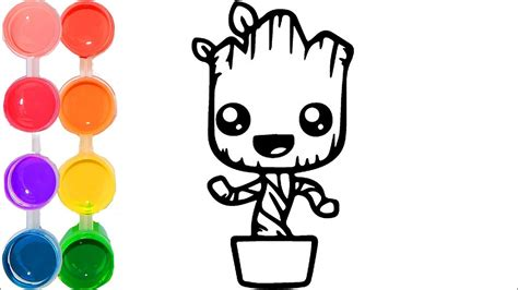 draw color  cute baby groot family art