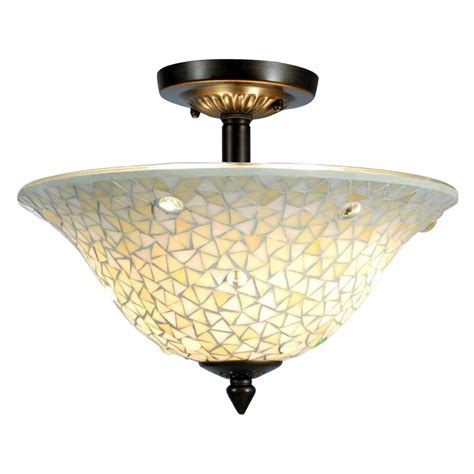 springdale lighting jeweled white mosaic semi flush mount