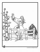 Coloring Barnyard Farm Morning Rooster Animals Pages Animal Sunrise Button Print Template Printer Send Special Only Activities Woojr sketch template