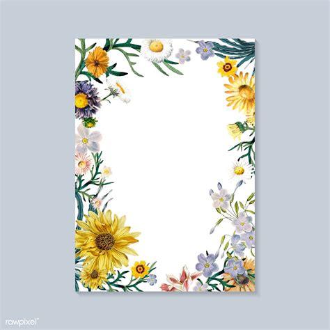 floral framed invitation card vector  image