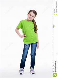 Smiling Little Girl In A Green Shirt. Stock Photography - Image 38175642