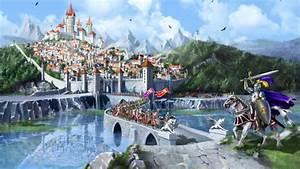 war castles tower knights wall kingdom fantasy art horses ...