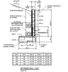 brick retaining wall detail structural drafter