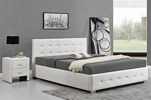 Cadre Lit Avec Rangement : lit design capitonn 140x190 blanc avec coffre de rangement newington ~ Teatrodelosmanantiales.com Idées de Décoration