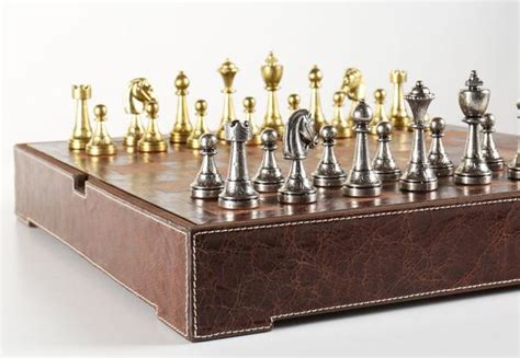 italy  metal chess pieces  leather chest chess house