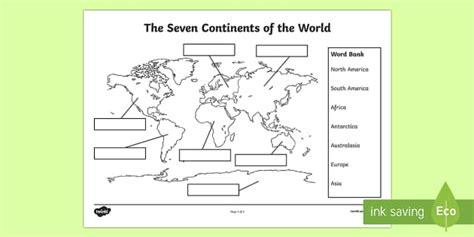 continents labelling worksheet worksheet
