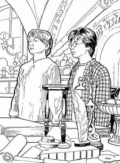 Potter Harry Coloring Weasley Ron Pages Detention