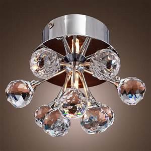 Crystal ceiling fan light fixture : Modern floral shape crystal ceiling light fixture flush