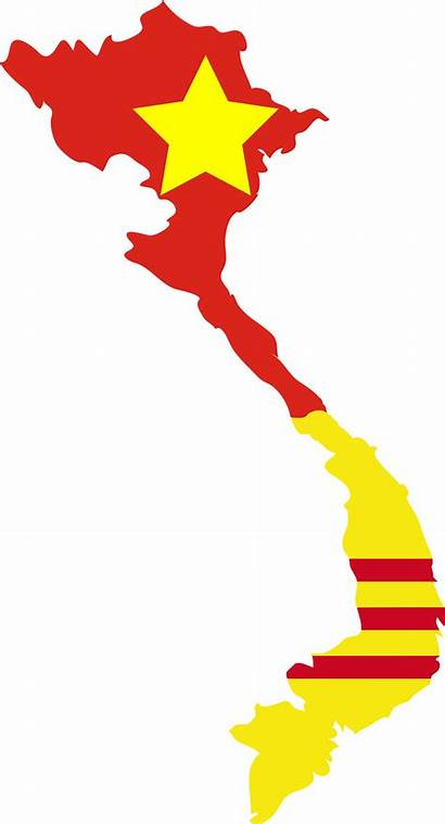 Vietnam North South Flag Map Communist 1964