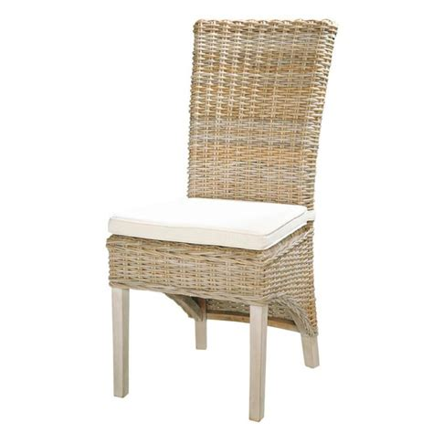 chaises tressées kubu rattan and solid mahogany chair in grey finish key