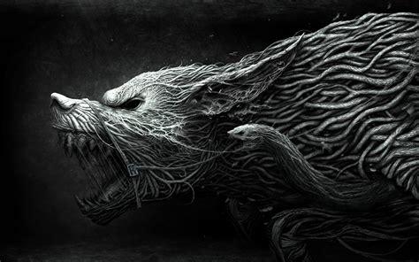 wallpaper wolf hellhound art black  white dangerous