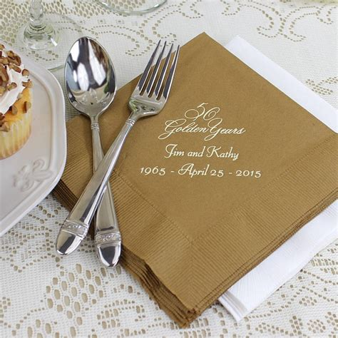 wedding anniversary luncheon napkins personalized