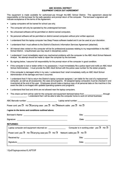 equipment check  agreement printable