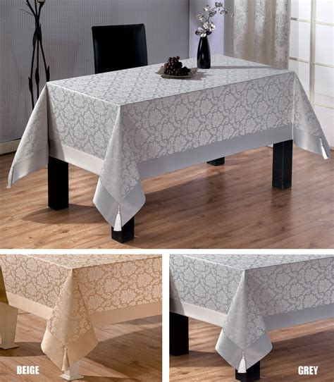 extra large luxury polycotton tablecloths in grey or beige